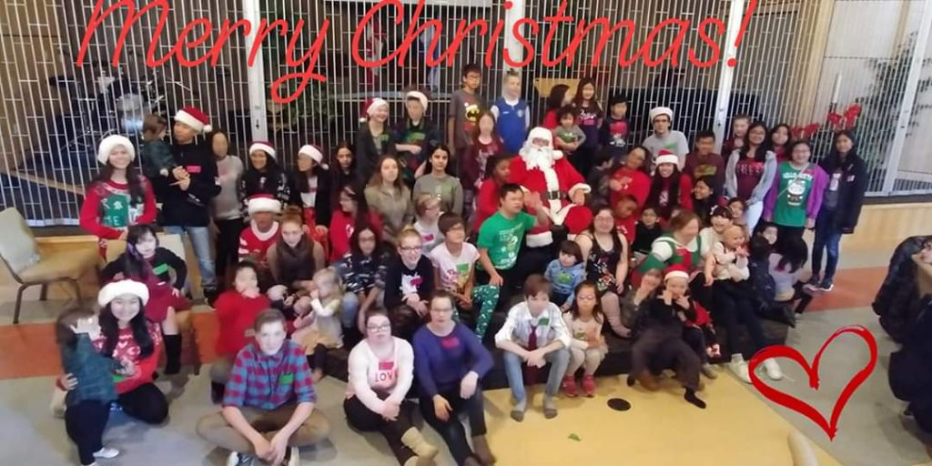 Christmas party for families with children with Down syndrome in the Fraser Valley of BC.